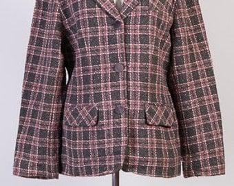 Women's Vintage, Vintage Jacket, Vintage coat, Tweed jacket, Women's jacket, Pink trimmed jacket, Pink tweed,Wool jacket, Size 16 UK