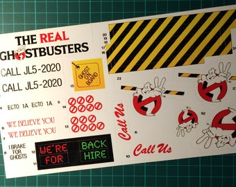 The Real Ghostbusters vintage repro die cut stickers/decals/labels for Ecto-1A Stickers Ecto 1a