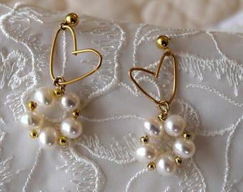 Little Gold Heart Earrings, White Freshwater Pearls Earrings, Bridesmaid Gift