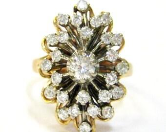 Starburst Diamond 14K 1950s Ring - X3165