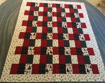 Handmade Black and Red Snowman quilt
