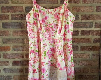 XXL- 1X Plus Size Women's Cotton Floral Rose Summer Sleeveless  Dress Jumper  Upcycled Clothing
