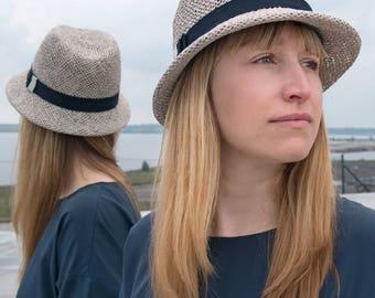 Fedora Women's spring, summer straw hat sun hat, millinery, stylish, elegant, designermode, wide brim, handcrafted, fashion, outfit, Serge