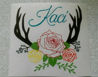 Antler and Floral Design Vinyl sticker for Yeti cup, computer, Car Window, mirror or any smooth surface