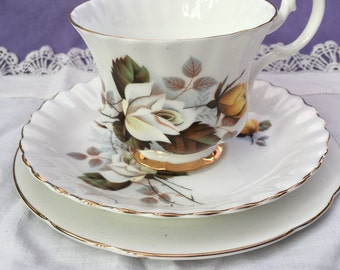 Royal Imperial Bone China Tea cup trio White and Yellow Roses gold trim c1960
