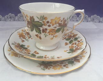 Queen Anne Teacup trio footed cup, saucer and tea plate