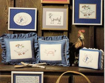 The Scarlet Thread Barnyard Francais Cross Stitch Book by Linda Jary