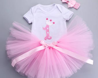 Baby Girl 1st Birthday 3 pcs Tutu Set in Pink, Smash Cake Outfit, Photo Shoots Outfit, Pink Tutu Set