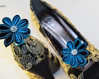 Shoe clips set of 2, satin flower shoe clip rhinestone shoe clip, shoe clips, Bridal, shoe clips, shoe clips, shoe clip, kanzashi, rhinestone