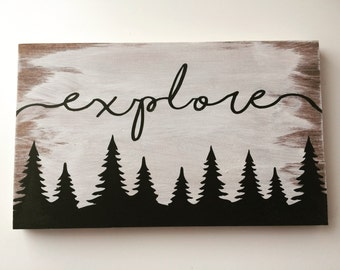 Explore Wood Sign Hand Painted Wood Sign Perfect For Home Decor Or Nursery Decor