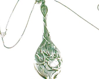Art Nouveau Sterling Silver Lorgnette and Chain Lillies