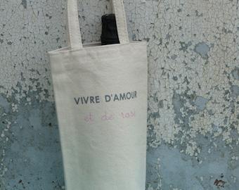 """""""Live and love pink"""" ecru bottle bag"""