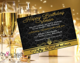 Fifty & Fabulous Black and Gold Birthday Invitation, 50th Birthday, Custom Birthday Invitation, 50th Birthday Party, 50 and fabulous