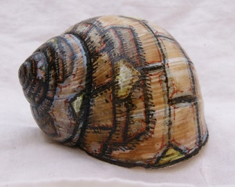 Hand-painted Snail Shell - Submarine Wreck