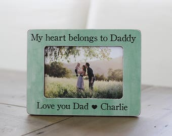 Dad Gift, Father's Day Gift, Gift for Fathers Day, My Heart Belongs to Daddy, Gift from Kids, Personalized Picture Frame