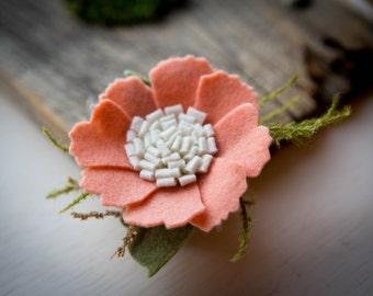 Peach Felt Flower Hair Clip