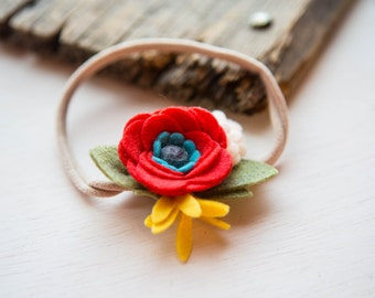 Coral, Blue and Yellow Felt Flower Headband