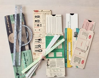 Vintage plotter, rulers, and measuring lot