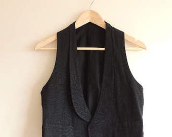 FREE SHIPPING - Vintage KAUFMANN'S black classic vest with buttons