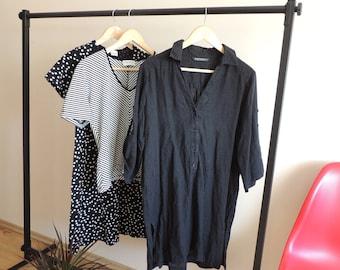 FREE SHIPPING - MARIMEKKO black linen shirt/dress/tunic with buttons and side splits, size M