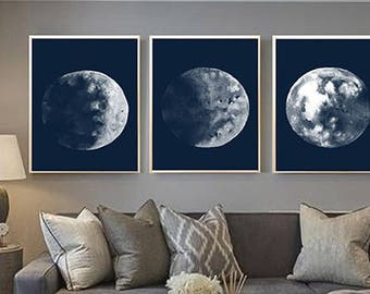 Set of 3 Lunar Blue Moon Phases Nautical home decor print Moon Phases Watercolor Art Print  Full moon wall art Moon Painting Moon wall art