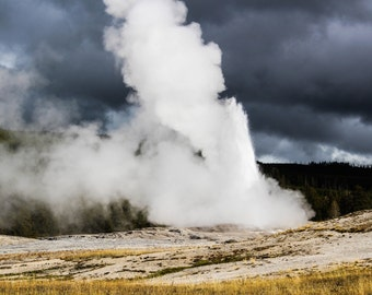 Misty Geyser, Old Faithful Photography Digital Download, Geyser, Clouds, Yellowstone National Park, Digital Photo Instant Download, 300 PPI