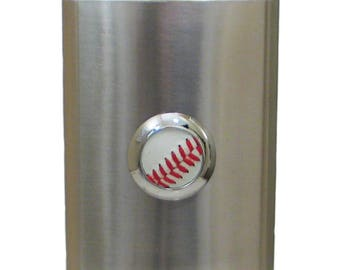 Item # 40053 Stainless steel flask 8 oz. with baseball.