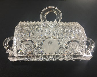 Beautiful Vinatge Etched Glass Butter Dish! Gorgeous Piece of Art