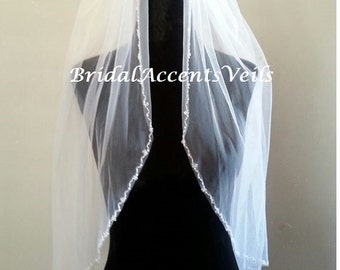 1T Single Layer, Elbow Length Bridal Wedding Veil with Pearl and Crystal Beaded Edge in White or Ivory