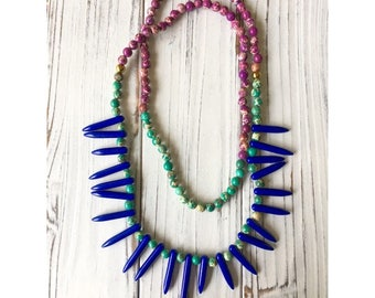 Natural howlite tusk beaded necklace