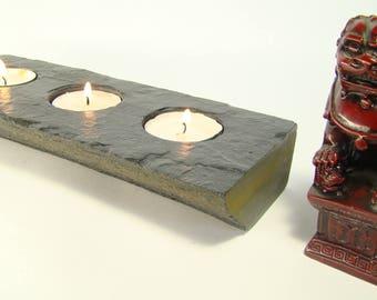 stone candle holder tealight natural rustic rustical eco handmade mountain rock living room elegant romantic candlestick slatestone