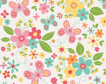White Floral Fabric/ Garden Girl Main/ Butterfly Fabric/ Riley Blake Fabric/ Fabric by the Yard/ Baby Girl Fabric/ Flower Fabric