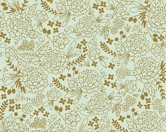 Mint and Gold Floral On Trend Riley Blake Fabric by the Yard