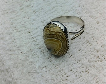 Cool Agate ring. Sterling silver. Artisan