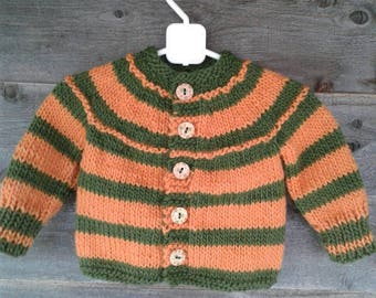 Hand Knitted Children Wool Sweater Cardigan Orange and Green