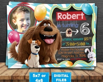 The secret life of pets invitation, secret life of pets birthday invitation, secret life of pets birthday party, secret life of pets digital