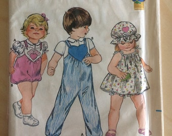 Vintage Girls Pattern Toddler Heart Top, Jumper, Panties, Hat and Jumpsuit size 3