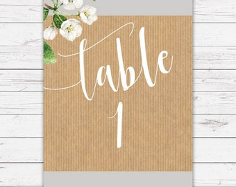 Table Number - Botanicals designand printed on textured card