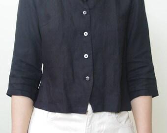 LINEN black blouse shirt Size 4/Small