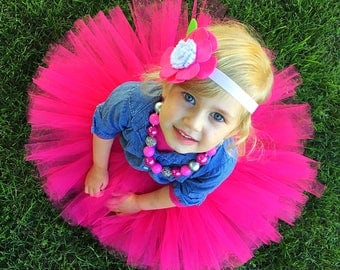 hot pink tutu skirt, baby girl fashion clothes, special occasion tutu skirt, photo prop tutu skirt baby girl, 1st birthday outfit