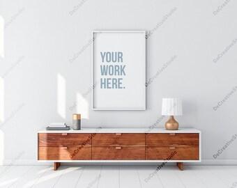 Vertical White Poster Frame Mockup in Modern Interior, White frame Mock up, Portrait orientation