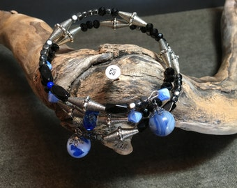 Large Memory Wire Bracelet with 2 Blue Vintage Marbles