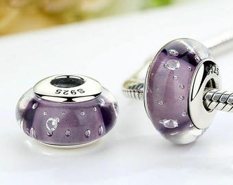 Sterling Silver charm Purple Murano Beads European Glass charm Bead perfect for pandora and troll or european bracelets