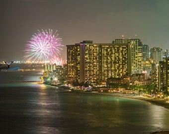 15 - Hawaiian Beach Fireworks, Wall Art, Oahu, Waikiki, Oversized Canvas, Large Beach Photography, Beach Decor, Friday Night Fireworks