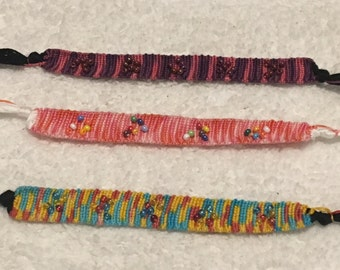 Alpha Variegated String Friendship Bracelet w/seed beads