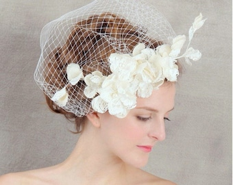 Ivory Cream Lace and Pearl Flower Birdcage Bridal Veil