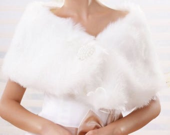 SALE 20% OFF- Elegant Ivory Plush Faux Fur Shrug Bolero Shawl Cape Bridal Wedding Jacket
