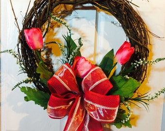 Pink Tulips on a Grapevine Wreath with a burlap bow and foilage, Pink Tulips, Tulip Wreath, Spring Wreath, Gift For Mom, Gift For Her
