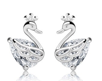 S925 Sterling Silver Swan Stud Earrings with Cubic Zirconia Stone