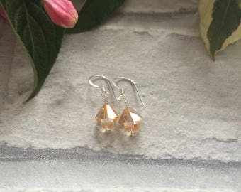 Champagne coloured Swarovski Crystal and Sterling Silver Earrings. Dainty Drop Swarovski Crystal Earrings.